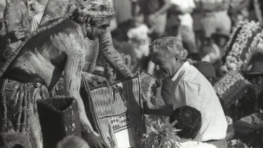 Then Prime Minister Bob Hawke receives the Barunga statement from Galarrwuy Yunupingu in Arnhem Land in the Northern Territory in 1988.