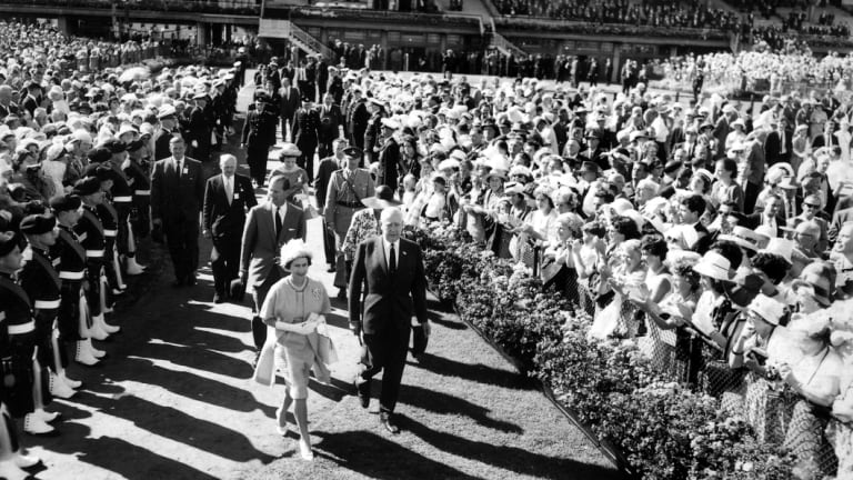 The Queen at the Melbourne Cup in 1963.