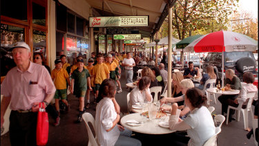 Lygon Street, around Christmas time in 1999.