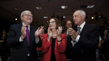 Former prime ministers Kevin Rudd, Julia Gillard and Paul Keating at the Labor Party campaign launch earlier this month.