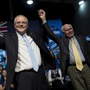 Prime Minister Scott Morison with his predecessor John Howard at a Liberal Party rally.