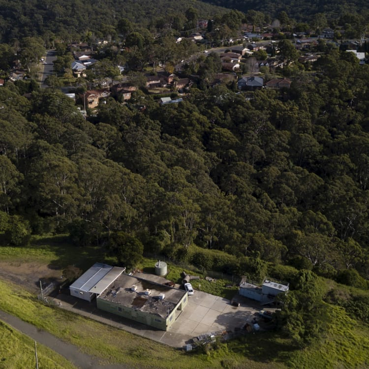 An aerial view of the Westleigh training facility of the NSW Rural Fire Service.