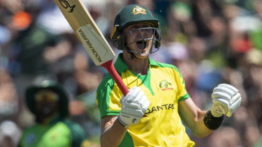 Marnus Labuschagne celebrates his century during the third and final one-day international match at Senwes Park, Potchefstroom.