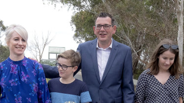 Daniel Andrews, with his family in Seaford, announcing money for new parks.