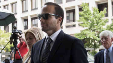 George Papadopoulos, former campaign adviser to Donald Trump, arrives for sentencing at federal court in Washington in September.