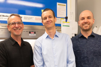 Professor Paul Young, left, Dr Keith Chappell and Dr Dan Watterson have developed a new vaccine technology.