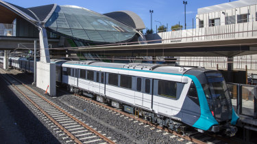 A driverless metro train at the new Tallawong station in Sydney's north-west.