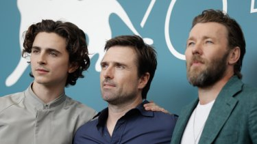 Timothee Chalamet, David Michod and Joel Edgerton at the photocall for The King at Venice Film Festival.