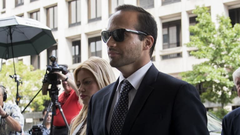 George Papadopoulos, former campaign adviser to Donald Trump, arrives for sentencing at federal court in Washington.