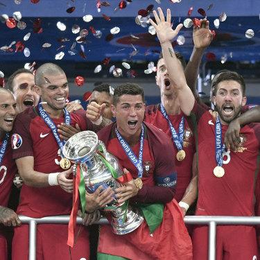 Cristiano Ronaldo and the Portuguese celebrate their win at Euro 2016.