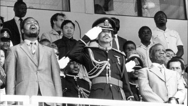 Ian Khama, then Deputy Chief of the Botswana Army, taking the salute at celebrations marking the 15th anniversary of Botswana independence in 1982.