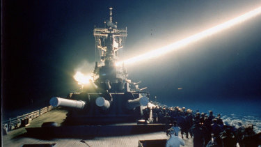 """The """"first"""" space war: a Tomahawk cruise missile launched during the 1991 Persian Gulf War."""