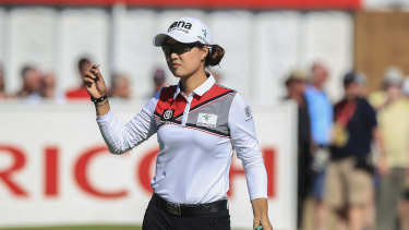 Frontrunner: Australia's Minjee Lee acknowledges the crowd after her opening round.
