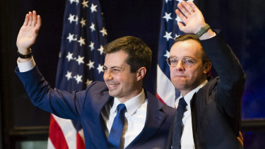 """""""By every conventional wisdom, but every historical measure, we were never supposed to get anywhere at all,"""" said Pete Buttigieg, pictured with his husband Chasten, now bowed out of the race."""