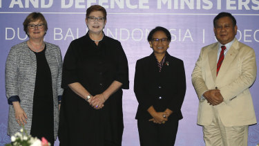 From left, Australia, Defence Minister Linda Reynolds and Foreign Minister Marise Payne with Indonesia's Defence Minister Prabowo Subianto and Foreign Minister Retno Marsudi before their bilateral meeting in Bali.
