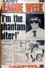 "The famous ""Phantom Biter"" front page of Rugby League Week."