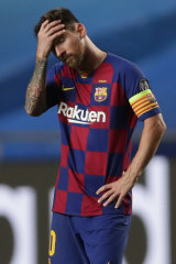 A dejected Lionel Messi.