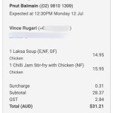 The receipt for virtual lunch with John Doyle.