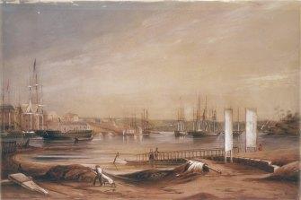 Circular Quay, 1839, watercolour by F. Garling