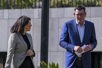 Marlene Kairouz with Daniel Andrews in April last year