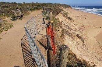 Erosion next to the Kilcunda rail trail bike path