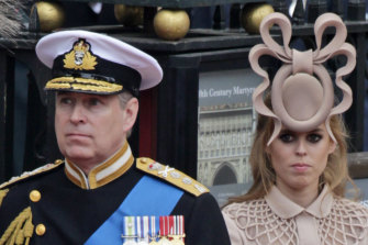 Prince Andrew, left, and his daughter Princess Beatrice at the wedding of Prince William and Kate Middleton in 2011.