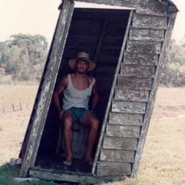 Many people sent in photos of their backyard dunnies, including Danny, in his leaning dunny at Bundaberg.