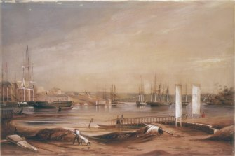 Circular Quay, 1839, watercolour by F. Garling