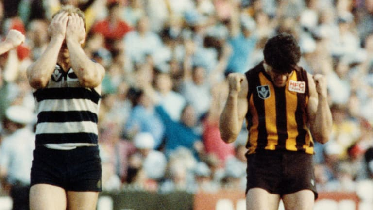 Gary Ablett and Chris Langford at the final siren in 1989.
