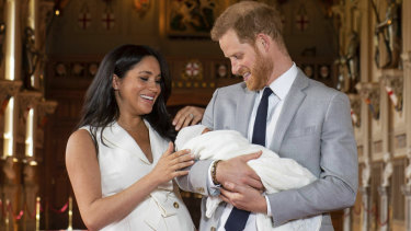 Britain's Prince Harry and Meghan, Duchess of Sussex, during a photocall with their newborn son.