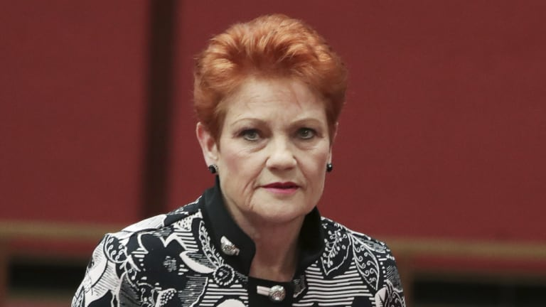 "One Nation leader Pauline Hanson put forward a motion declaring: ""It's OK to be white."""