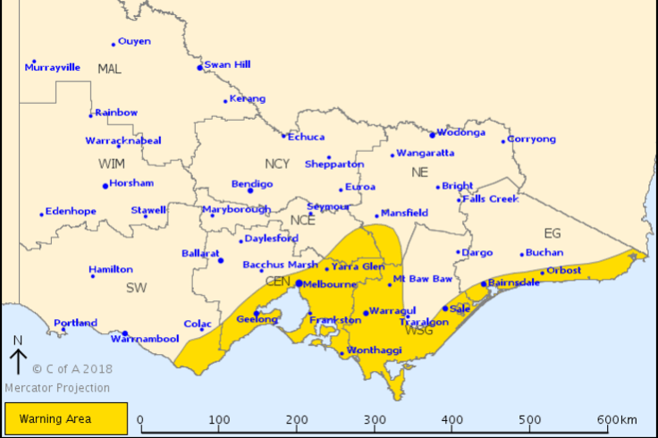 Much of Victoria's coast will be affected by damaging winds throughout Sunday