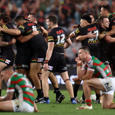 The Panthers celebrate after booking their grand final berth ... less than six months after many had predicted the 2020 season would not take place.