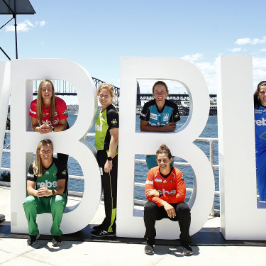 WBBL players pose for a photograph during the Women's Big Bash League launch in 2016.