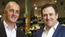 Sydney Fish Market chief executive Greg Dyer and ShoreTrade founder Peter Manettas.