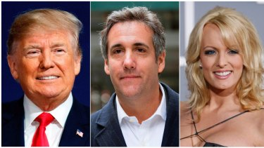 The investigation centred around hush money payments paid by Donald Trump;s lawyer Michael Cohen (centre) to adult film actress Stormy Daniels (right) and a Playboy model.