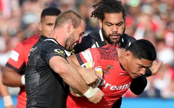 Grudge match: Taumalolo takes on the team he turned his back on, New Zealand, at the World Cup.