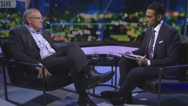 Scott Morrison defends his multicultural credentials to Waleed Aly during a tense interview on <i>The Project</i>.