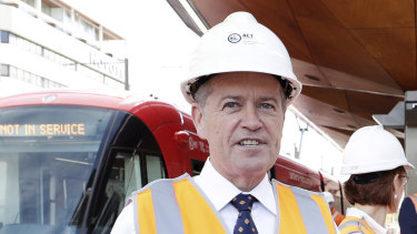 Opposition Leader Bill Shorten during an announcement on Canberra's light rail.