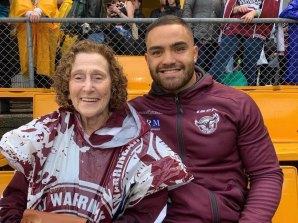 Brenda Duchen with Manly Sea Eagles player Dylan Walker.