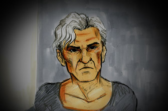 A sketch of Mr Laidley at an earlier hearing.
