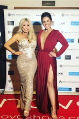 "Miss World ""mother superior"" Deborah Miller with Miss World Australia 2014 Courtney Thorpe."