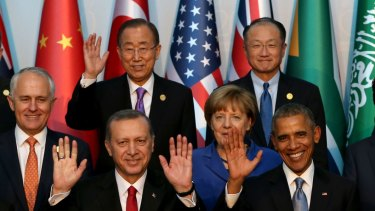 Mr Ban poses with global leaders, including former Australian PM Malcolm Turnbull, at a G-20 summit in Turkey in 2015.
