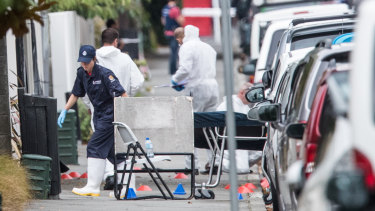 Body bags being wheeled into Masjid Al Noor Mosque in Christchurch.