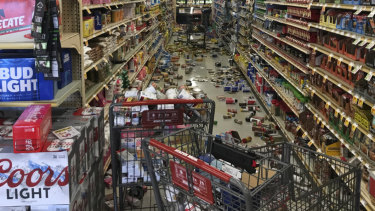 Food and other merchandise lies on the floor at the Stater Bros. in Ridgecrest, after an earthquake on Thursday.