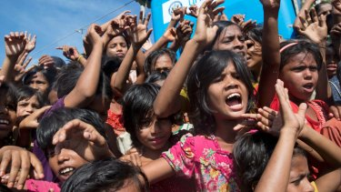 Rohingya refugees during a protest against repatriation process at Unchiprang refugee camp near Cox's Bazar in Bangladesh in November.