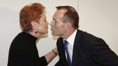 Tony Abbott launched Pauline Hanson's book in Parliament House in March 2018.