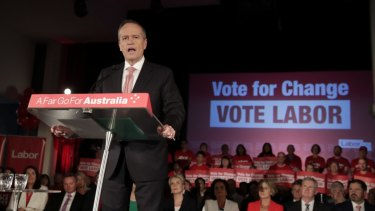 Opposition leader Bill Shorten addressed a rally in Blacktown in Sydney on Thursday.