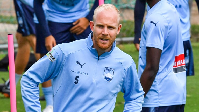 On notice: Sydney FC defender Jop van der Linden at training on Thursday.