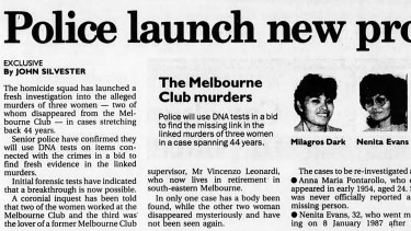 <i>The Age</i>'s 1998 report on the new investigation linking three suspected murders.